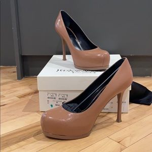 Brand New in Box YSL Tan Heels